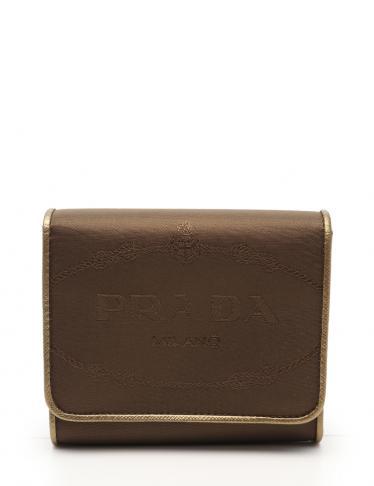 buy popular a9b9e bc2f6 PRADA(プラダ) 三つ折り財布 ナイロン レザー ゴールド|中古ブランド通販のRECLO