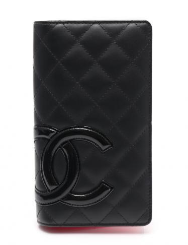 7e2f47ed4046 CHANEL(シャネル)カンボンライン 二つ折り長財布 レザー エナメルレザー 黒|中古ブランド通販のRECLO