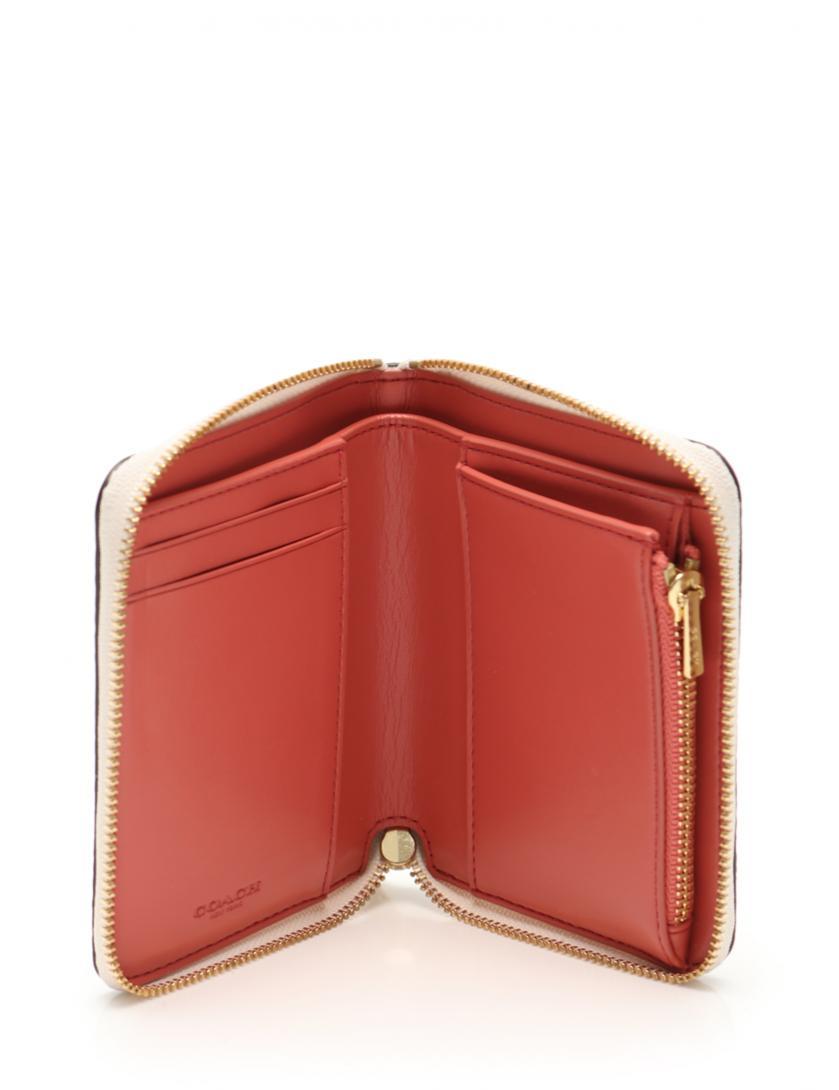6f09dd548a9d COACH(コーチ)スモールジップアラウンドウィズミニヴィンテージローズ ラウンドファスナー二つ折り財布 PVC ベージュ ピンク マルチカラー  中古ブランド通販のRECLO
