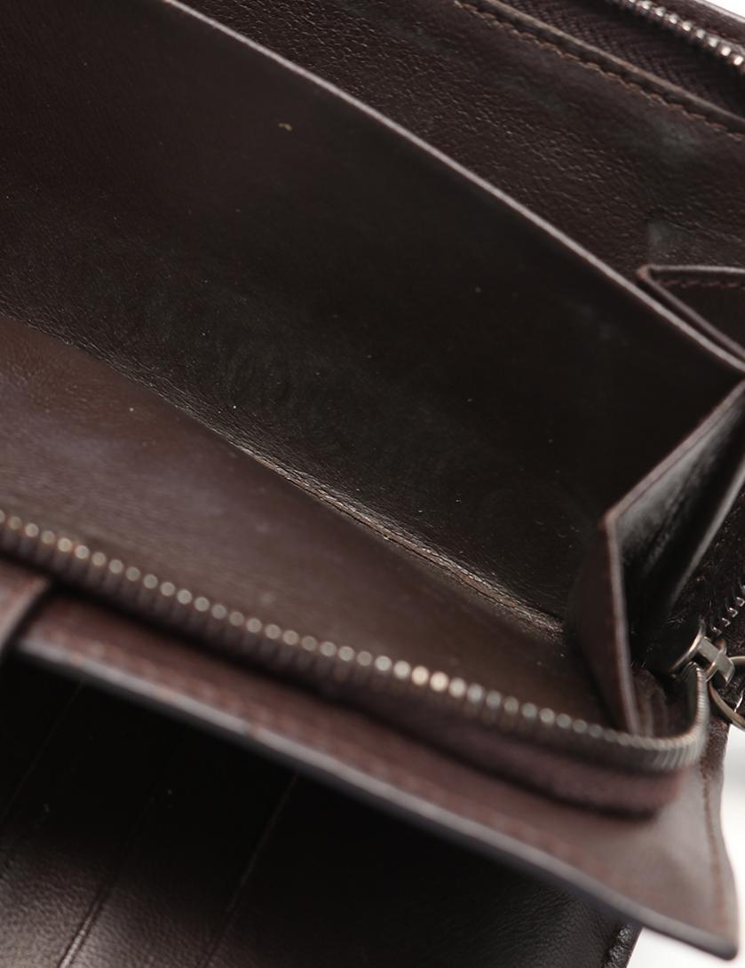 BOTTEGA VENETA・財布・小物・イントレチャート 二つ折り長財布 レザー ダークブラウン