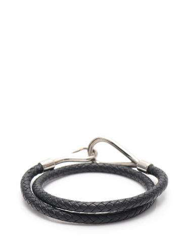 HERMES・アクセサリー・ジャンボブレス ブレスレット レザー 黒 シルバー金具 編み込み