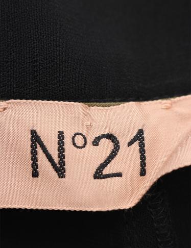 N°21・ボトムス・パンツ カーキ 黒 切替 バイカラー