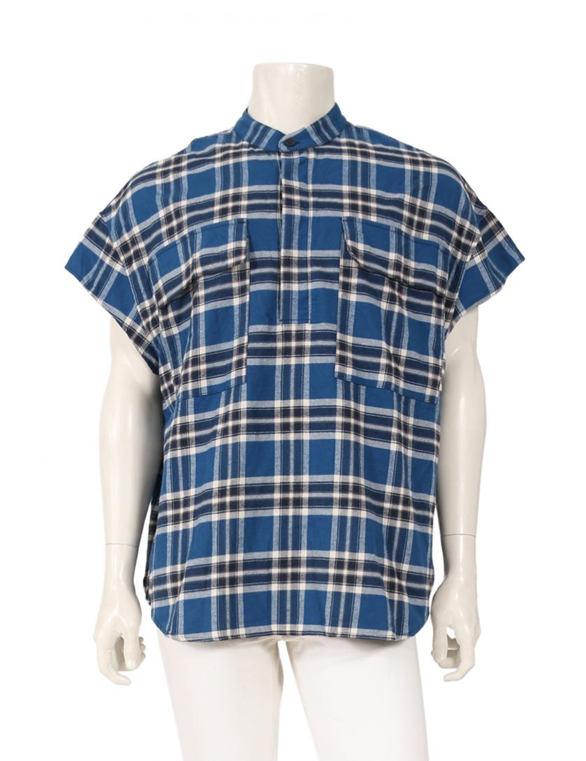 FEAR OF GOD・トップス・Short Sleeve Flannel  シャツ 青 白 ネイビー SIX COLLECTION