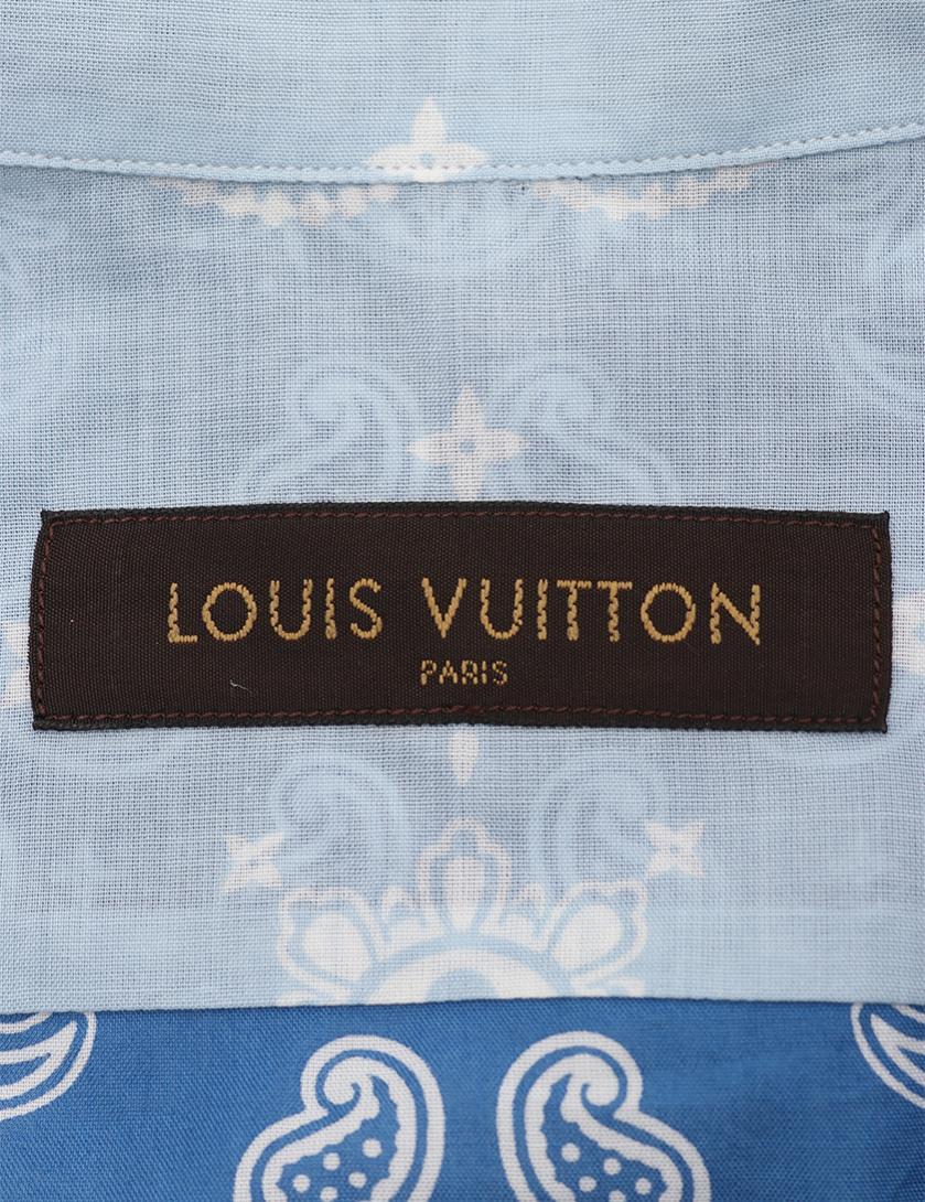 LOUIS VUITTON・トップス・ シャツ ペイズリー柄 コットン 青 水色 バンダナ