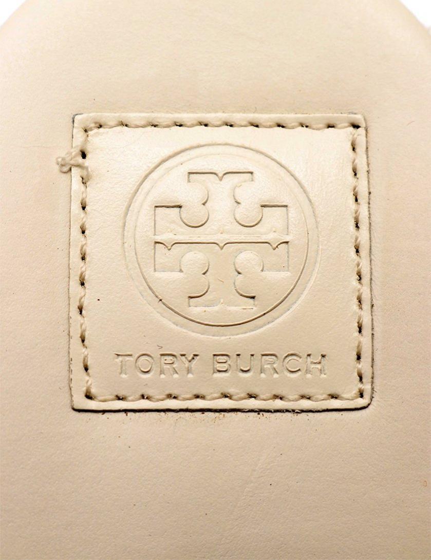 TORY BURCH・シューズ・エスパドリーユ ウェッジソールサンダル レザー アイボリー アンクルストラップ