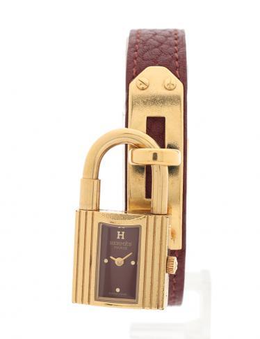 newest collection 48545 293c4 HERMES(エルメス)ケリーウォッチ 腕時計 レディース クオーツ GP レザー ゴールド ブラウンパープル 〇X刻印|中古ブランド通販のRECLO