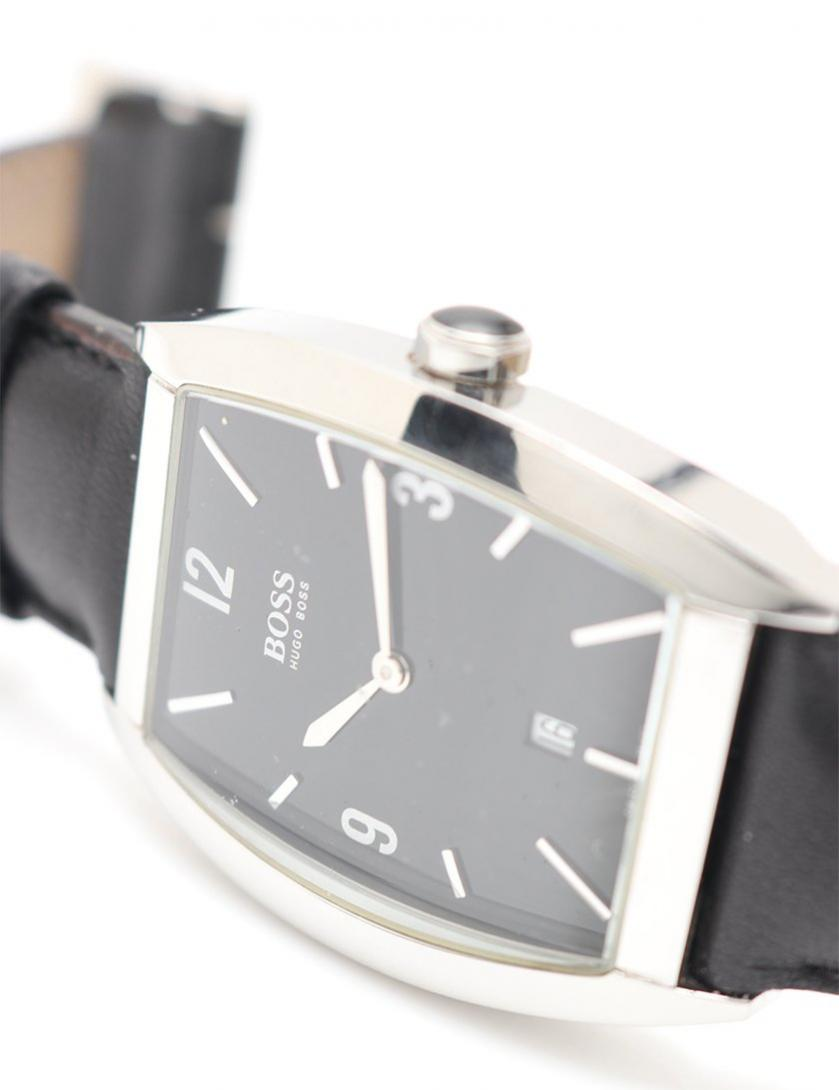 HUGO BOSS・時計・腕時計 メンズ クオーツ SS レザー シルバー 黒 黒文字盤