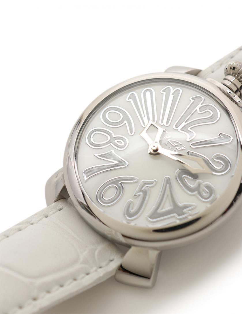 GaGa MILANO・時計・MANUALE マヌアーレ40 ボーイズ 腕時計 クオーツ SS レザー シルバー 白