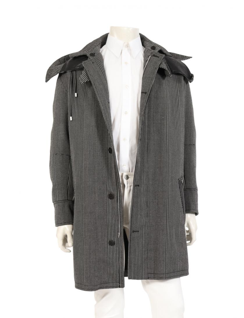 Versace・アウター・ ロングコート ウール レザー 黒 白 エルボーパッチ