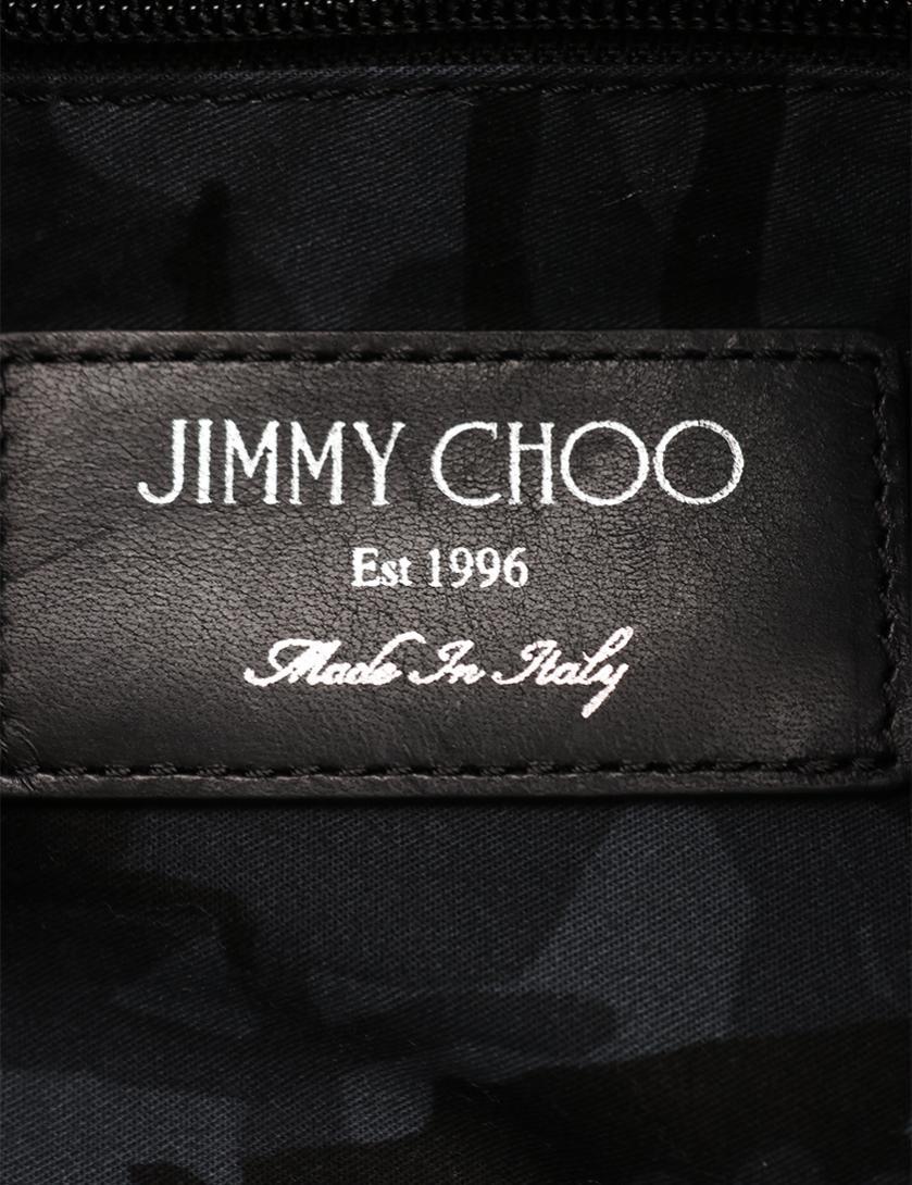 JIMMY CHOO・バッグ・FITZROY リュックサック バックパック スターペイント レザー 黒 グレー
