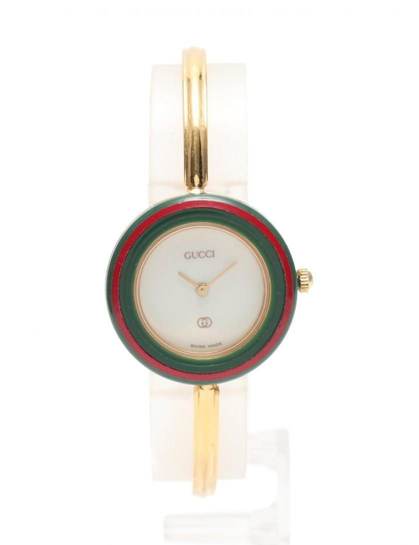 GUCCI・時計・チェンジベゼルウォッチ レディース 腕時計 クオーツ ゴールド 緑