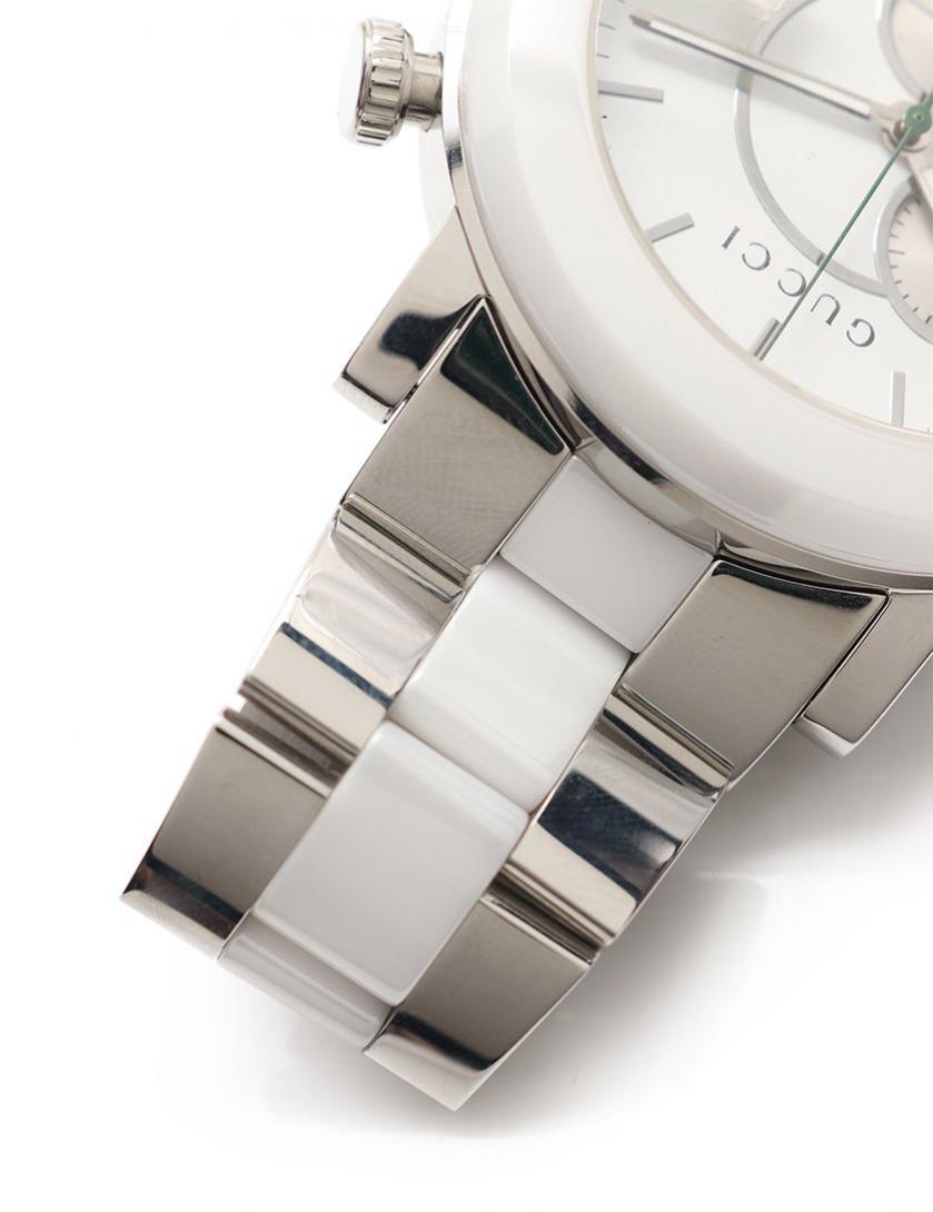 GUCCI・時計・Gフェイス Gクロノ クロノグラフ メンズ 腕時計 クオーツ SS セラミック シルバー 白 白文字盤