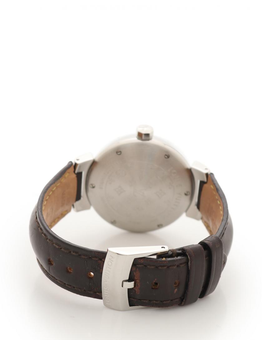 LOUIS VUITTON・時計・タンブール ボーイズ 腕時計 クオーツ SS レザー シルバー 茶 茶文字盤