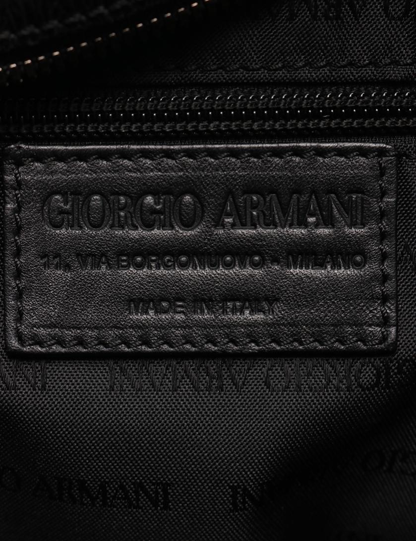 GIORGIO ARMANI・バッグ・ ボストンバッグ レザー 黒 型押し