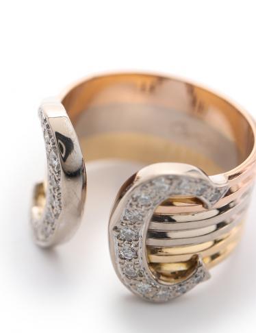 Cartier・アクセサリー・2C トリニティ ダイヤリング LM 指輪 K18YG K18WG K18PG ダイヤモンド ゴールドスリーカラー