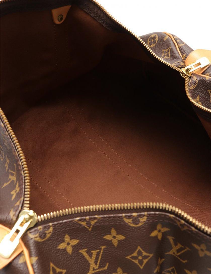 LOUIS VUITTON・バッグ・キーポル50 モノグラム ボストンバッグ PVC レザー 茶
