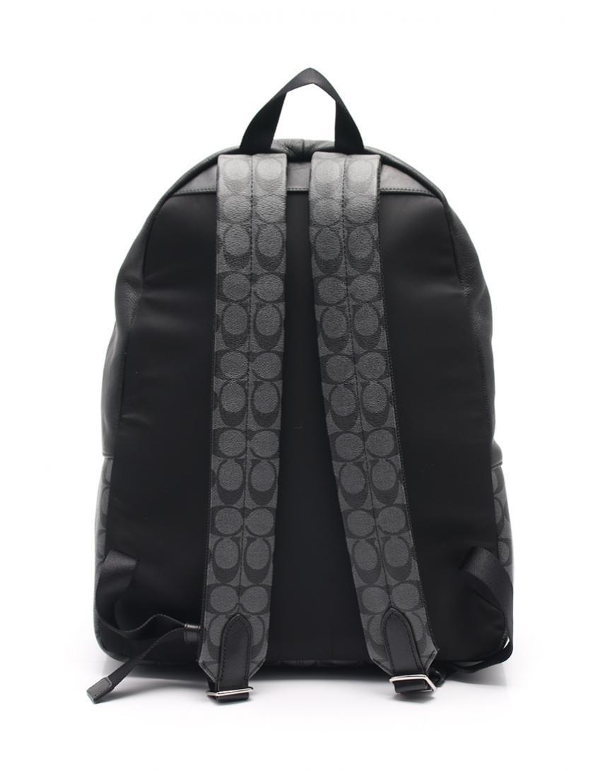 COACH・バッグ・シグネチャー リュックサック バックパック PVC レザー グレー 黒