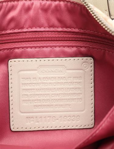 COACH・バッグ・シグネチャー ハンドバッグ キャンバス レザー 白 ピンク ベージュ 2WAY