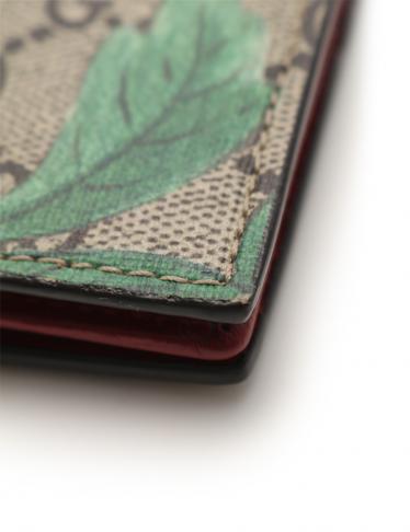 GUCCI・財布・小物・ティアン GGスプリーム 名刺入れ カードケース 蝶柄 PVC ベージュ ピンク 水色