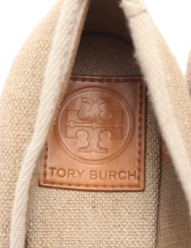TORY BURCH・シューズ・ エスパドリーユ オープントゥ パンプス キャンバス ベージュ リボン ウェッジソール