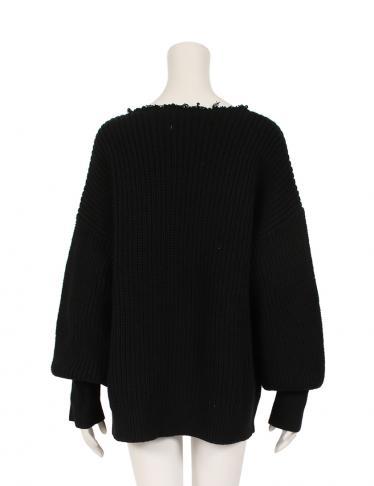 CLANE・トップス・CRASH COLLAR KNIT TOPS セーター ニット コットン ナイロン 黒