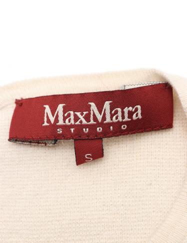 Max Mara Studio・ワンピース・ニットワンピース シルク 黒 アイボリー バイカラー
