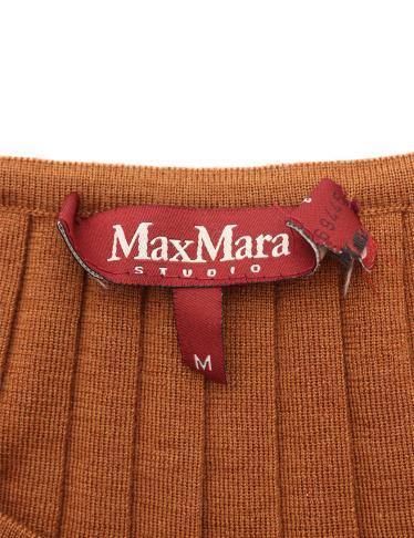 Max Mara Studio・トップス・ ニット ウール 茶 プリーツ