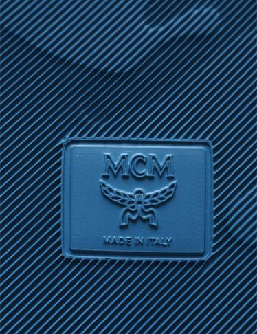 MCM・シューズ・ロゴ スライドサンダル ラバー 青 シルバー