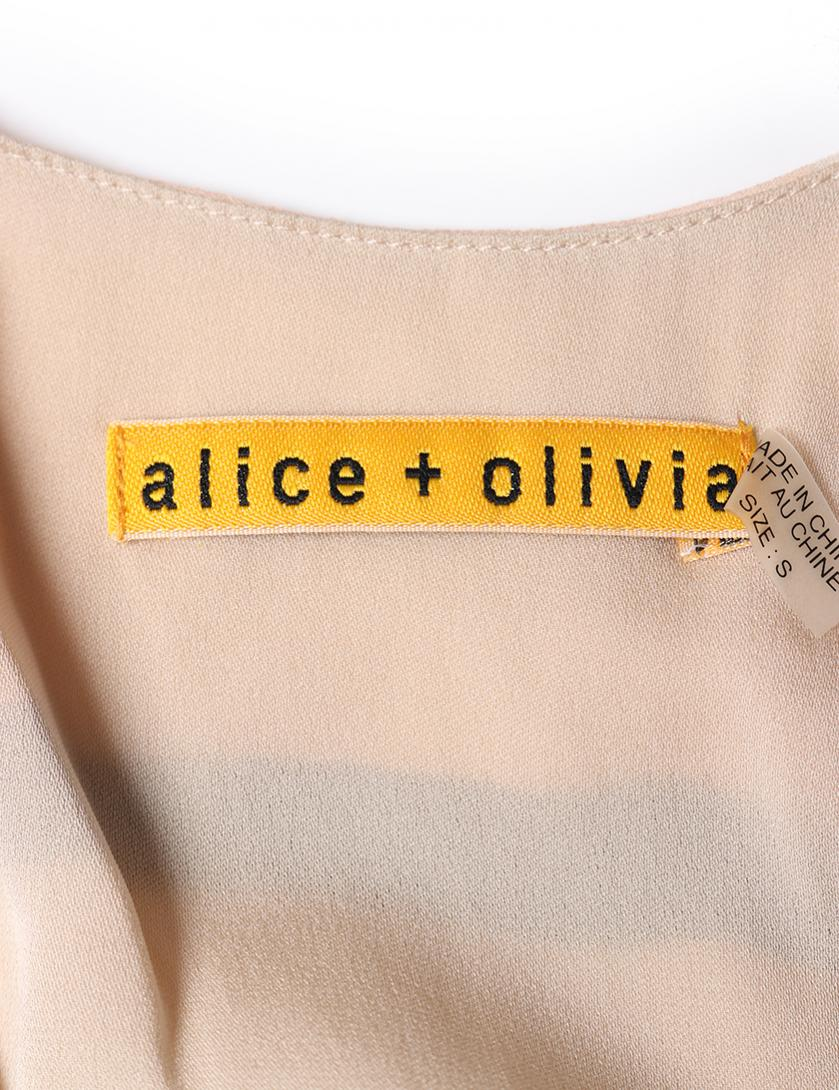 Alice + Olivia・ワンピース・ ワンピース ノースリーブ マキシ丈 シルク ベージュ ライトピンク ベルト付