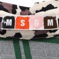MSGM・トップス・ ブラウス チェック レオパード シルク グレー 緑 黒 アイボリー