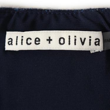Alice + Olivia・ボトムス・ フレアミニスカート ウール ナイロン シルク レーヨン ナイロン ネイビー 切替 バックファスナー