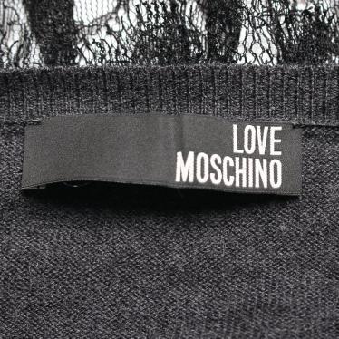 LOVE MOSCHINO・ワンピース・ニット ワンピース レース ウール ダークグレー