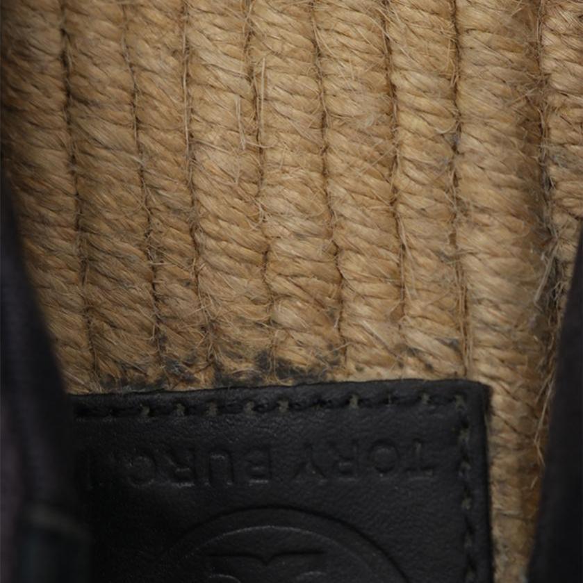 TORY BURCH・シューズ・ロゴ エスパドリーユ スリッポン キャンバス エナメル ネイビー 黒