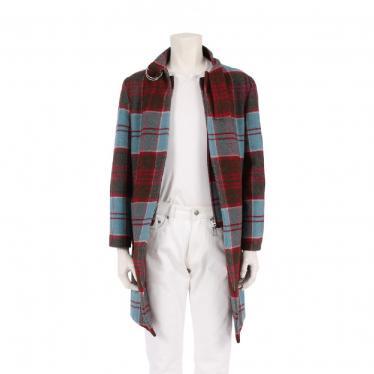 Vivienne Westwood MAN・アウター・CHECK COAT ロングコート タータンチェック ウール 赤 水色 マルチカラー
