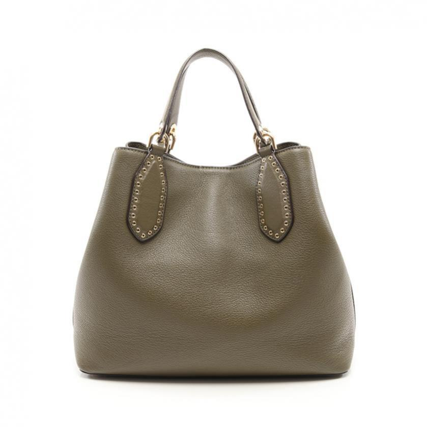 MICHAEL KORS・バッグ・Brooklyn Large Leather Satchel ブルックリン トートバッグ レザー 緑 スタッズ 2WAY