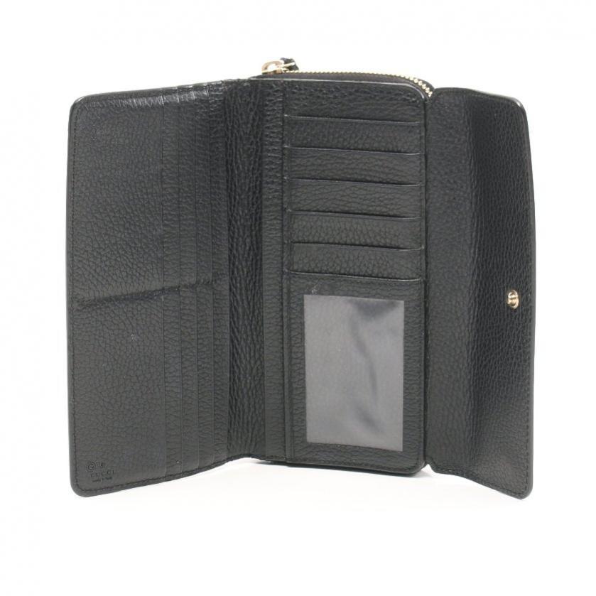 GUCCI・財布・小物・インターロッキングG 三つ折り長財布 レザー 黒
