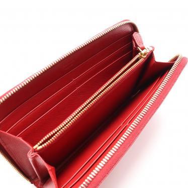 PRADA・財布・小物・SAFFIANO METAL ラウンドファスナー長財布 サフィアーノレザー 赤