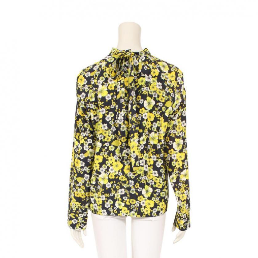 MSGM・トップス・ ブラウス 花柄 長袖 ネイビー 黄 白 リボン