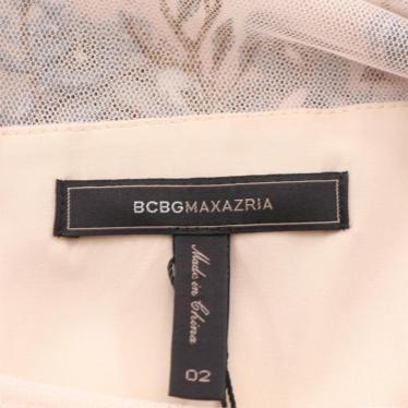 BCBG MAXAZRIA・ワンピース・ ワンピース 刺繍 長袖 ロング丈 フレア ピンクベージュ 青 マルチカラー