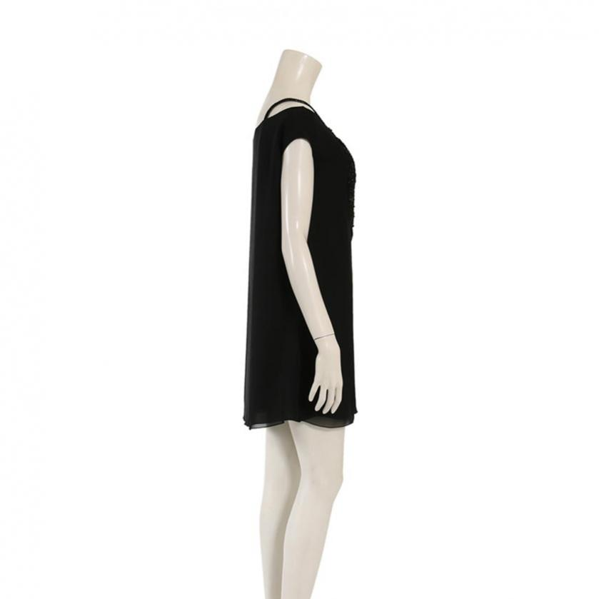 EMPORIO ARMANI・ワンピース・ワンピース シルク スパンコール 黒 ビーズ装飾