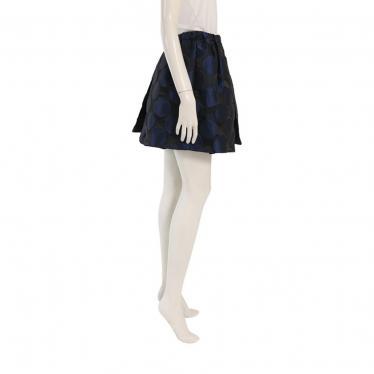 N°21・ボトムス・ スカート ドット ナイロン 黒 ネイビー