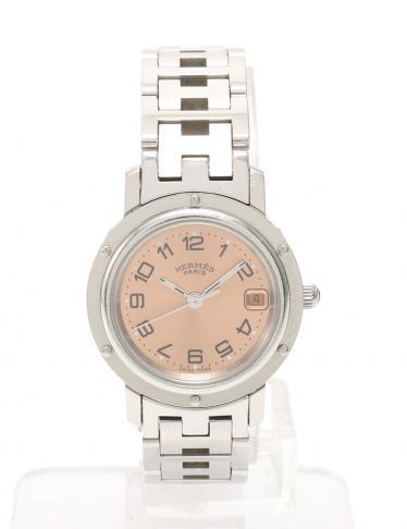 low priced 80cc5 22e90 HERMES(エルメス)クリッパー レディース腕時計 クオーツ SS デイト シルバー ピンクゴールド 中古ブランド通販のRECLO