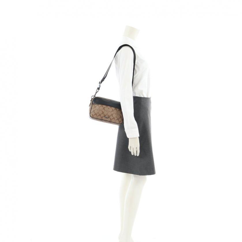 COACH・バッグ・シグネチャー グラハム クロスボディ ショルダーバッグ PVC レザー ベージュ 黒