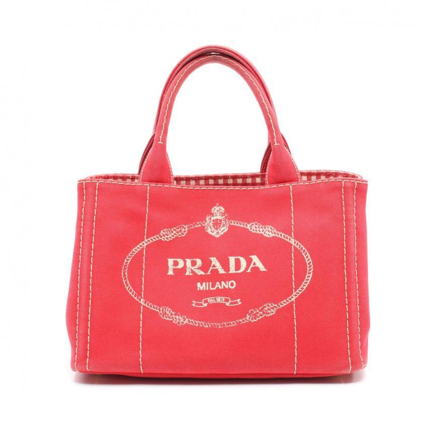 PRADA・バッグ・CANAPA カナパ ハンドバッグ キャンバス 赤 2WAY
