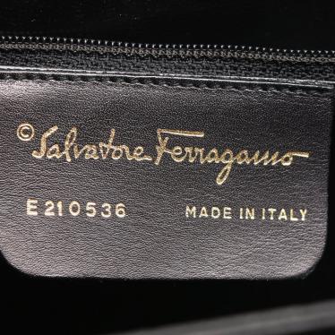 Salvatore Ferragamo・バッグ・ガンチーニ ハンドバッグ レザー 黒 2WAY トップハンドル ヴィンテージ