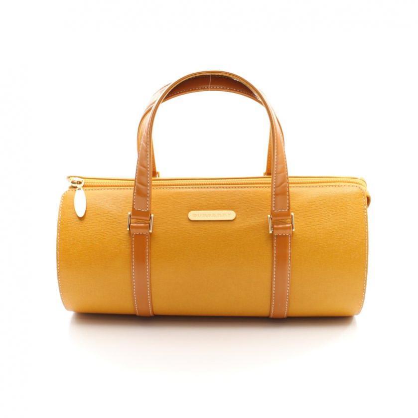 BURBERRY・バッグ・ ミニボストンバッグ ハンドバッグ レザー 黄色