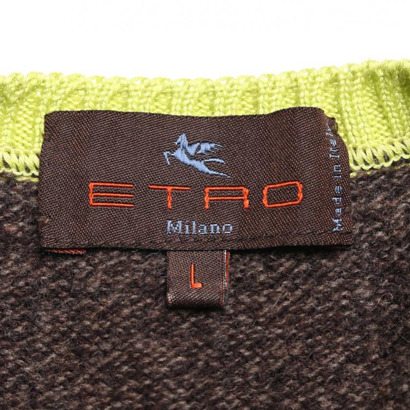 ETRO・トップス・ Vネックニットベスト ウール ダークブラウン 黄緑