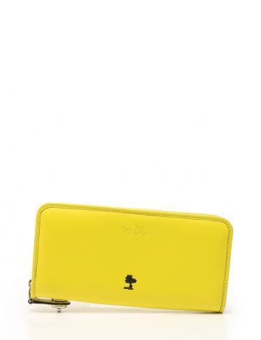 new product 02dac 4229b COACH(コーチ)コーチ×スヌーピー アコーディオンジップラウンドファスナー長財布 レザー 黄色|中古ブランド通販のRECLO