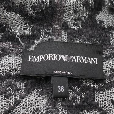 EMPORIO ARMANI・アウター・ ニットジャケット 花柄 グレー ダークグレー