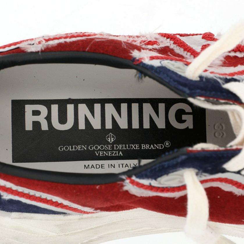 GOLDEN GOOSE・シューズ・RUNNING SOLE スニーカー スエード レザー ネイビー 赤 白 ユーズド加工